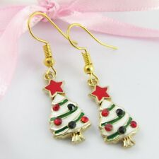 Enamel & Rhinestone Christmas Tree Charm Hook Earrings 40mm
