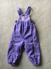Vintage Carter's Baby Girls Purple Corduroy Overalls Embroidered Mouse Size 18m
