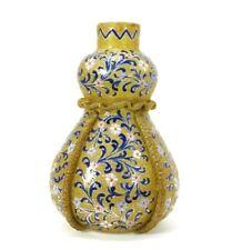 Antique Moser Art Deco Glass Double Gourd Vase Enameled Flowers
