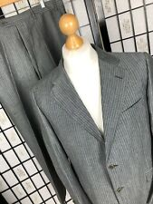 Canali Suit Grey Pinstripe Wool Linen Jacket 42R Trousers 36S Made In Italy