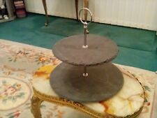 EXCELLENT HOUSEWARE NATURAL SLATE 2 TIER FOOD STAND WITH CARRY HANDLE