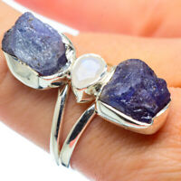 Tanzanite, Rainbow Moonstone 925 Sterling Silver Ring Size 8.5 Jewelry R32072