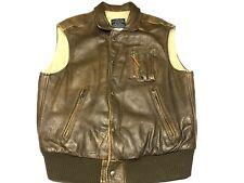 Vintage AVIREX B-9 Brown Leather Flight VEST Jacket USA MADE Size LARGE