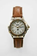 Fossil Blue Watch Mens Day Date Stainless Silver Gold Leather Brown 50m White