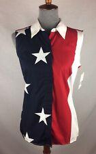 NWT $50 Liz Claiborne Medium Sleeveless American Flag Button Down Blouse