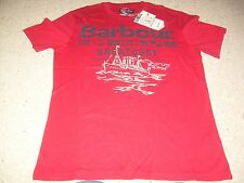 BARBOUR Greatcoat Red Mens T Shirt Flags Ship M NWT NEW FREE SHIP