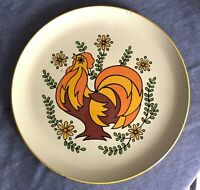 "VINTAGE Mid Century ROOSTER ROUND SERVING TRAY  13"" Gold Orange Brown Green 70's"