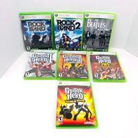 Rock Band 1 2 The Beatles Guitar Hero 2 3 Aerosmith World Tour Xbox 360 Lot Of 7