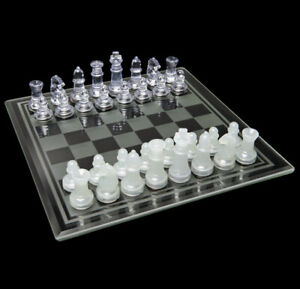 Classic CHESS & Checkers With Glass Board Clear & Frosted Pieces NEW Game Set