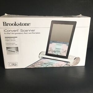 """BROOKSTONE iConvert Scanner Dock iPad iPad2 Tablets Scans 2"""" to 8.5"""" Open Box"""