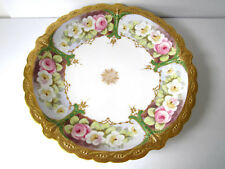 """Antique Limoges Serving Plate Platter 12"""" Gold & White Floral Hand Painted"""