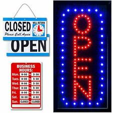 """Neon Open Sign for Business: Vertical Lighted Sign Open with 19"""" x 10"""" Model 5"""