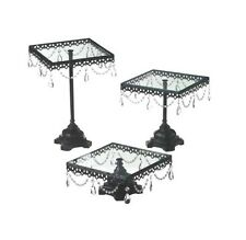 Midwest CBK Jeweled Black Square Cake Stand, Set of 3, NIB