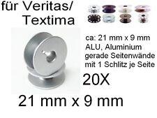Spulen ALU für viele Veritas/ Textima !! mit Schlitz, 21x9 mm, 20 Stück !