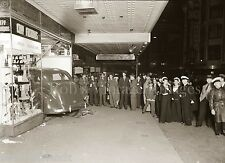 Vintage  car wreck smashing into front of Drug store late 1930s old photo