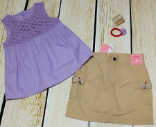 Gymboree Glamour Safari purple tunic 8 EUC, tan gem skirt 7 NWT & bracelet set