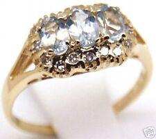 Beautiful Women 14k Gold, Aquamarine Diamond Ring, Sz 7