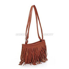 Womens Vintage Faux Leather Fringe Tassel Satchel Shoulder Handbag Crossbody Bag