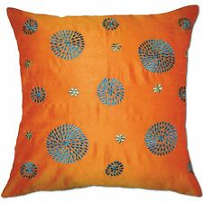 turquoise circles embroidered pure silk orange cushion covers