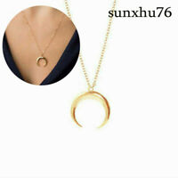 For Women Gold Moon Layered Crescent Necklace Moon Wicca Pendant Horn Jewelry