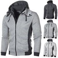 Sports Mens Plain Hoodie Zip Up Fleece Hoody Jacket Sweatshirt Zipper Coat Tops