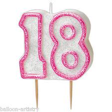 """3.5"""" Rosa Sfarzo 18th Festa Di Compleanno Candela Torta Stampato con glitter"""