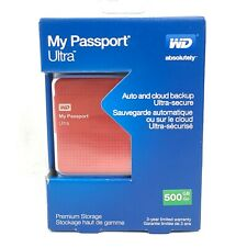 WD My Passport Ultra 500GB Portable External USB 3.0 Hard Drive Auto Backup Red