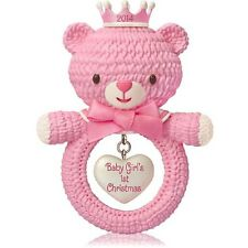 2014 Hallmark BABY GIRL'S FIRST CHRISTMAS Teddy Bear Pink Rattle *Priority Ship
