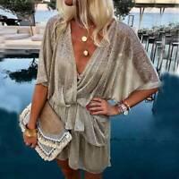 Womens Deep V-neck Half Batwing Sleeve Sequin Wrap Mini Dress Summer Party Loose