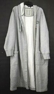 LL Bean Mens Gray Drawstring Patch Pocket Casual Hooded Sleepwear Robe L Regular