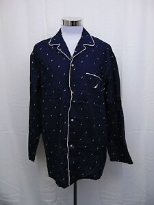 Nautica Men's Sleepwear, Button Front Woven Pajama Shirt Maritime Navy XL #3041