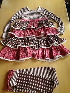 Jelly The Pug Dress Pants Combo Size 10, Brown Pink White Ruffles 9072