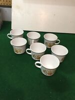 """Lot of 7 - 1970s Corelle Corning """"Indian Summer""""  Coffee Mug Cup , Floral"""