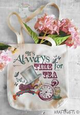 Alice In Wonderland Time For Tea Tote Shopping Grocery Reusable Hand Bag AW04