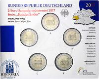 Deutschland 5 x 2 Euro 2017 Porta Nigra Stgl Rheinland Pfalz Mzz ADFGJ im Folder