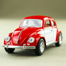 1967 Classic Volkswagen Beetle Diecast 1:32 Scale Pullback Chrome Red White