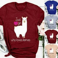 Women Summer Llamas Letter Printed Short Sleeve T-shirt Casual Loose Tops Blouse