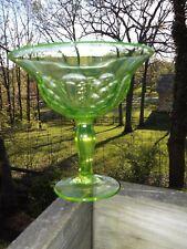 EAPG Co-Operative Flint Vaseline Large Glass Compote. ADORIA  Pattern