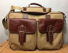 """Hartmann Leather Canvas Travel Duffle Bag Carry On Briefcase Made In USA 13"""""""