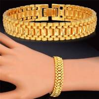 18K Chunky Link Chain Bracelet Gold Plated Cuff Bangle Wristband Jewelry For Men