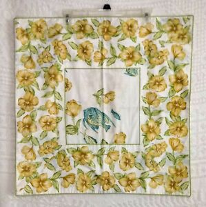 VTG April Cornell 24x24 Pillow Cover Yellow Hibiscus Teal Fish Button Closure EU