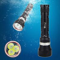 Waterproof 10000Lm 3x XM-L2 LED Powerful Scuba Dive Flashlight Torch Light 2017