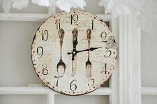 Clayre & Eef Wanduhr Besteck Küche Uhr Clock Shabby Chic Vintage Landhaus