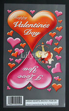 Happy Valentines Day Red Hearts I Love You Cupid E-Z Rub On Transfers Free UK