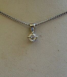 Brand New Diamond Solitaire 9ct White Gold Pendant Necklace & Gold Chain £175