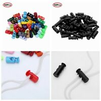 50 Plastic Toggle Spring Loaded Stopper Elastic Rope Cord Locks Clip End Buttons