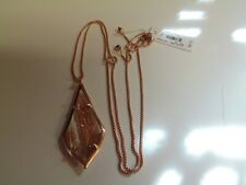 Kendra Scott Olivia Long Pendant Necklace Dusted Glass 14k Rose Gold Plated