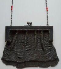 Vintage Dark Gray Metal Mesh Evening Bag Handbag Purse w Beaded Chain Handle