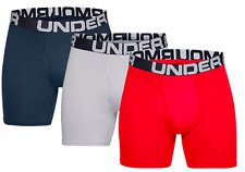 UA 3-Pack 6 Inch Men's Boxerjock Underwear Charged Cotton Navy Red Under Armour