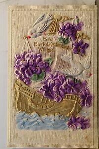 Greetings Best Birthday Wishes Postcard Old Vintage Card View Standard Souvenir